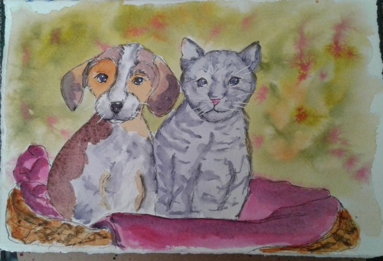 Day 321…dog or cat I couldn't decide whether to paint a dog or cat, so I did both. &#x1f