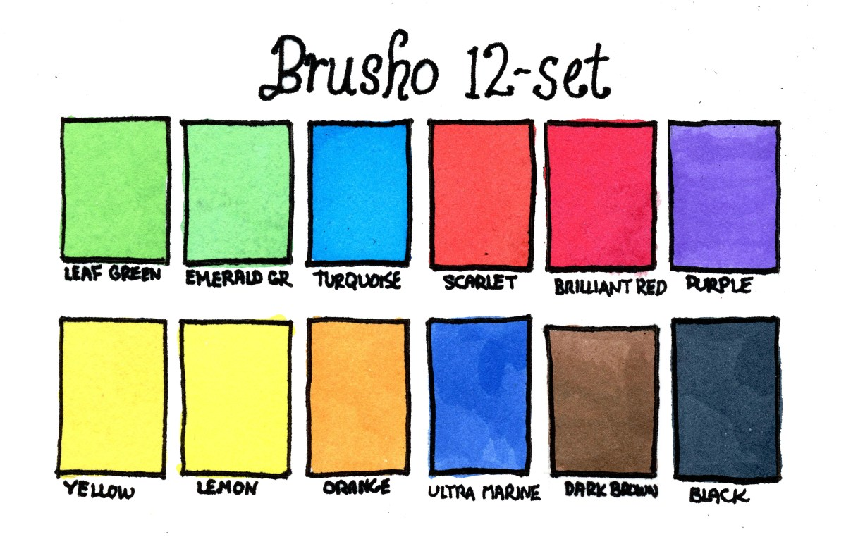 Brusho Crystal Colours swatches 12 color set