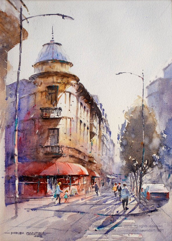 Bucharest Cityscape Watercolour Painting by Dhruba Mazumder - Doodlewash.com - #WorldWatercolorGroup