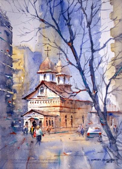 Bucharest Cityscape Watercolour Painting by Dhruba Mazumder - Doodlewash.com - #WorldWatercolorGroup