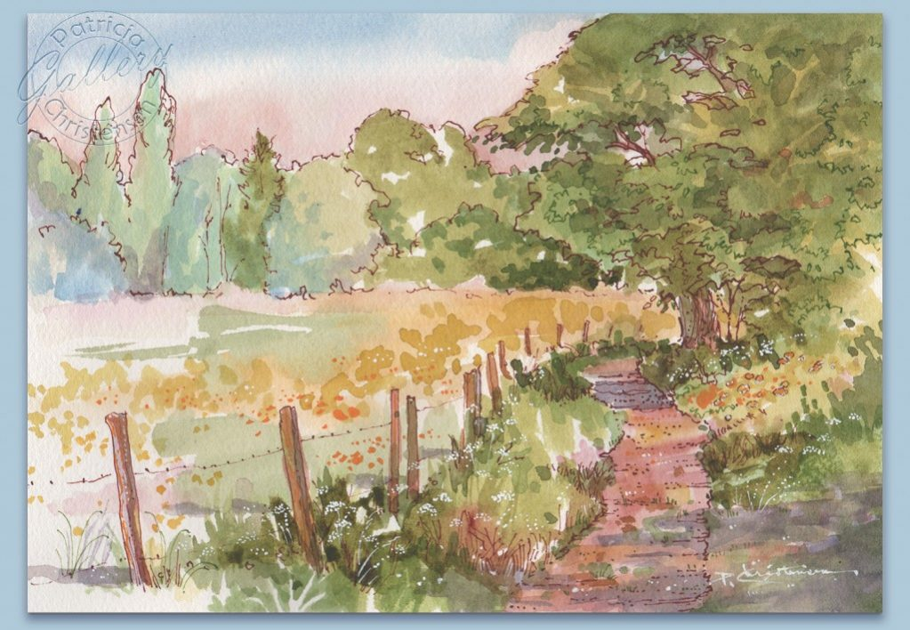 Country Lane - Watercolor Painting by Patricia Lee Christensen - Doodlewash