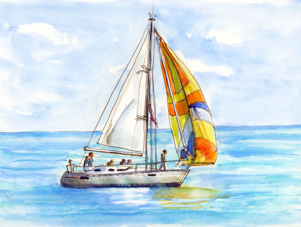 Day 17 - Sailboat Watercolor Painting - Doodlewash
