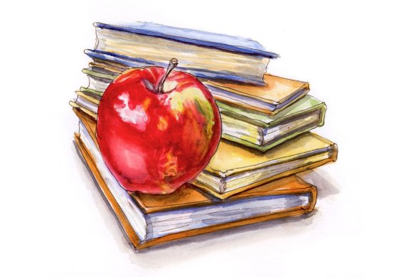 Day 24 - An Apple For The Teacher Watercolor_