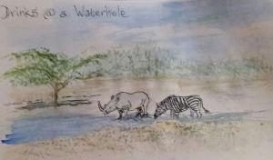 Drinks at a waterhole Day 29 #Doodlewash #doodlwashMay2018