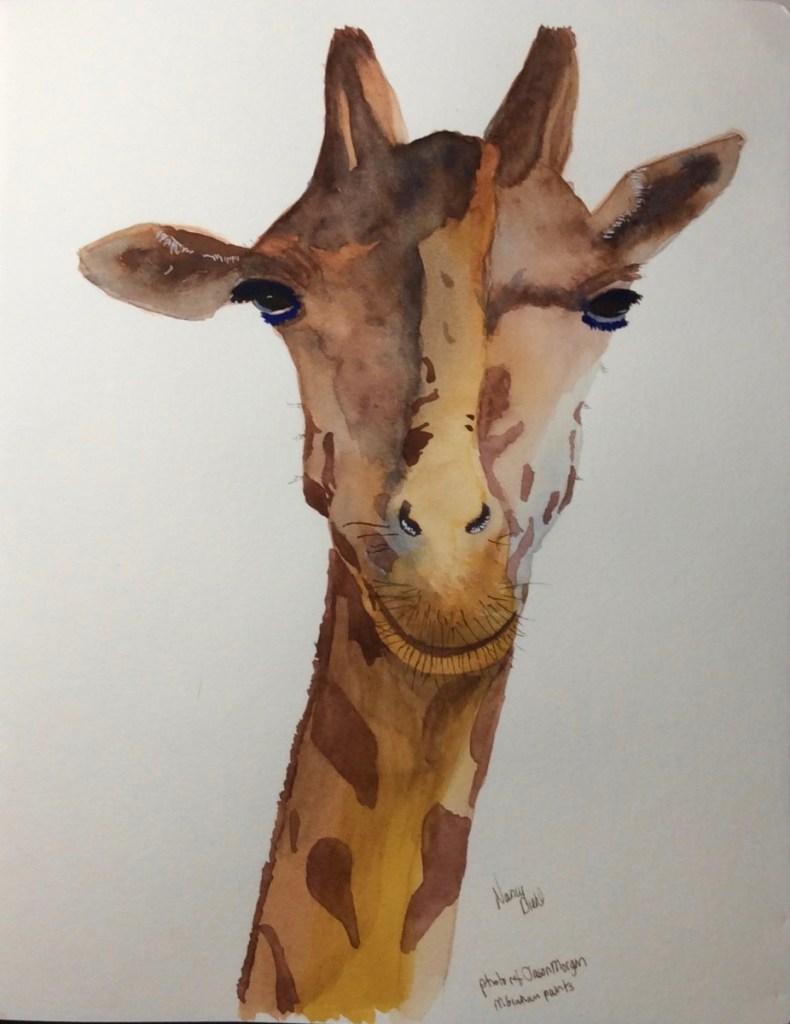 Practice piece in my Global Handbook watercolor sketchbook, 7×10″. M. Graham paints. Free