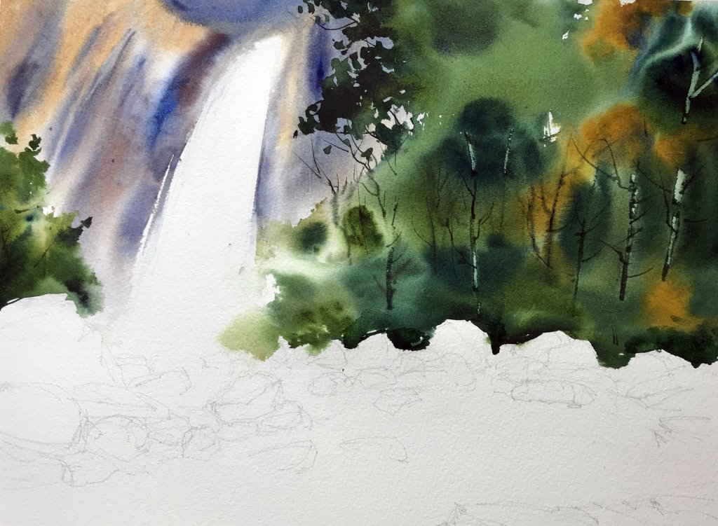 paint a waterfall In Water color - Foliage - Doodlewash