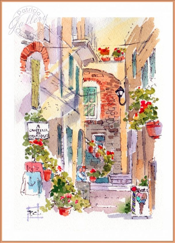 Italy - Watercolor Painting by Patricia Lee Christensen - Doodlewash