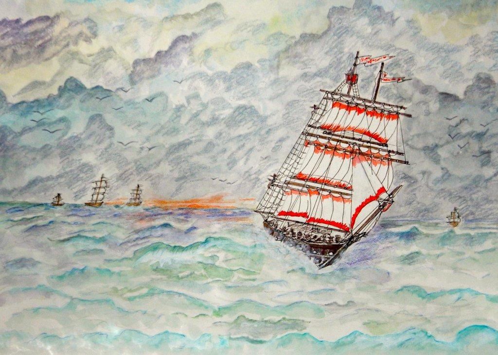 World Watercolor Group™. MAY CHALLENGE DAY 17 SAILING HOME SAILING HOME