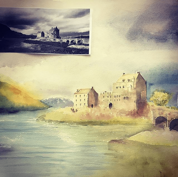 "Eilean Donan Castle, Scotland, from a photo (my very first ""full sheet""!) Screen Shot 20"