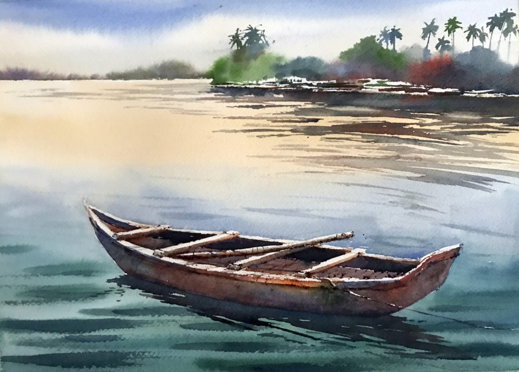 Watercolor Tutorial Painting A Boat And Water Sujit Sudhi - Doodlewash