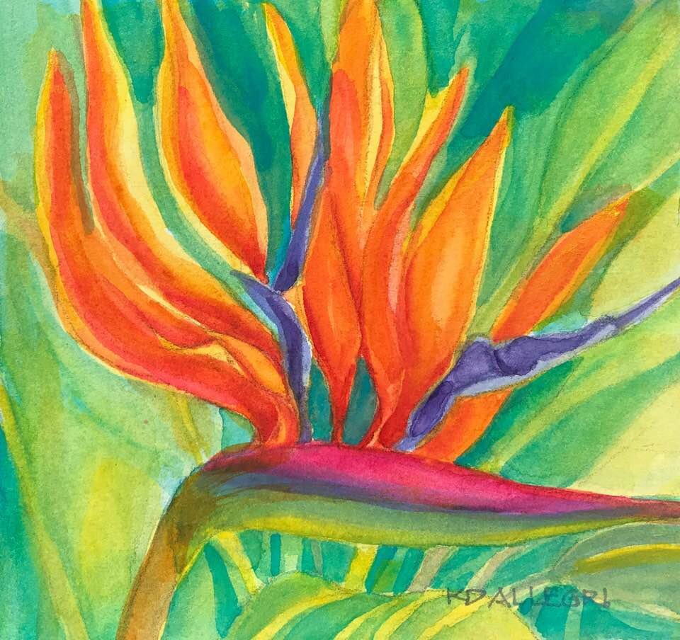 """""""Bird in Paradise,"""" another Plein Air Watercolor that I painted in my daughter's g"""