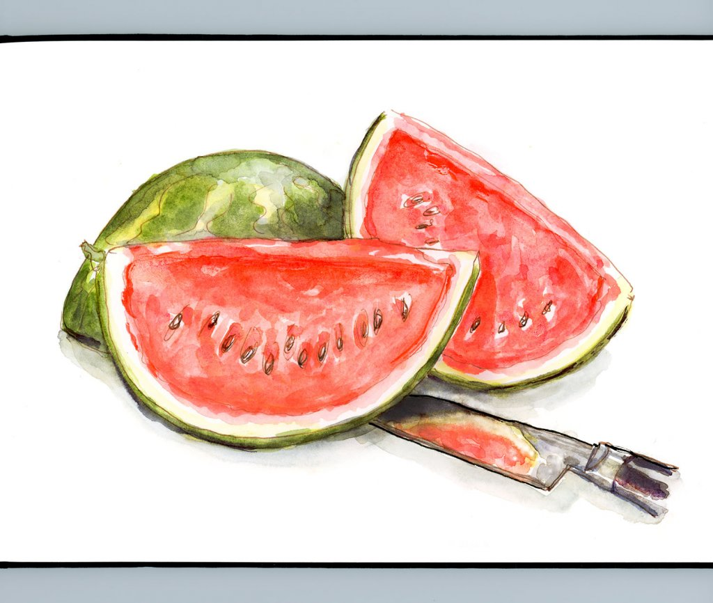 Day 13 - Cutting Up The Watermelon - #doodlewashJune2018 Doodlewash