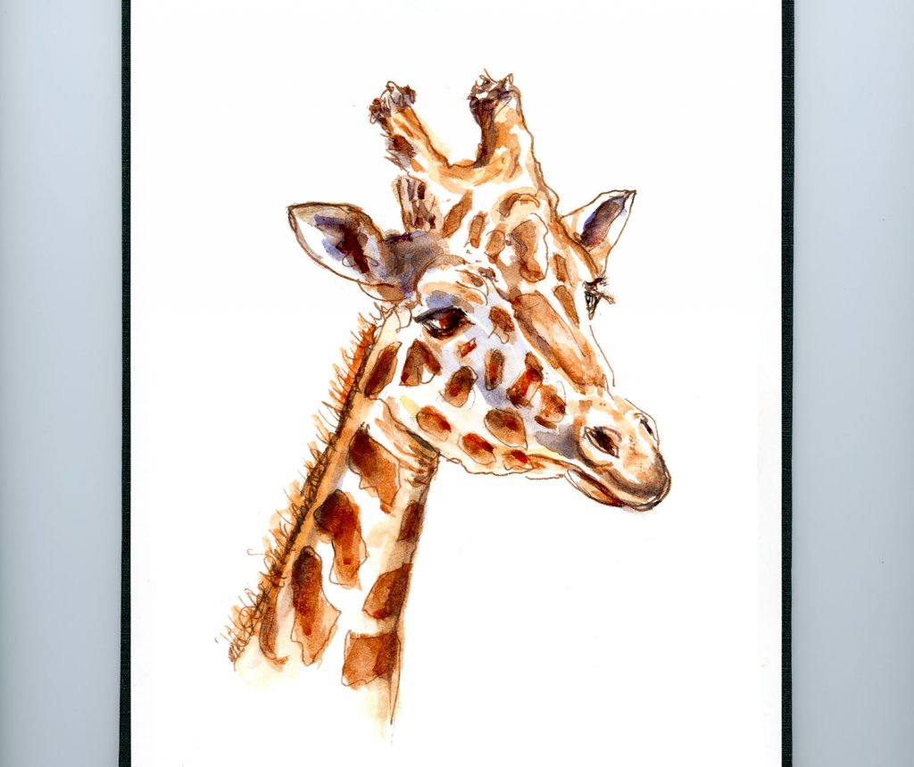 Day 21 - Giraffe Watercolor - #doodlewashJune2018 Doodlewash