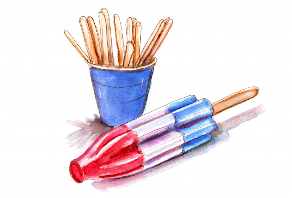 Day 28 - Watercolor Popsicle and Popsicle Sticks - #doodlewashJune2018 Doodlewash