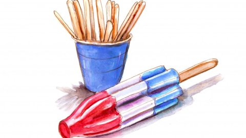 Day 28 - Watercolor Popsicle and Popsicle Sticks - #doodlewashJune2018 Doodlewash