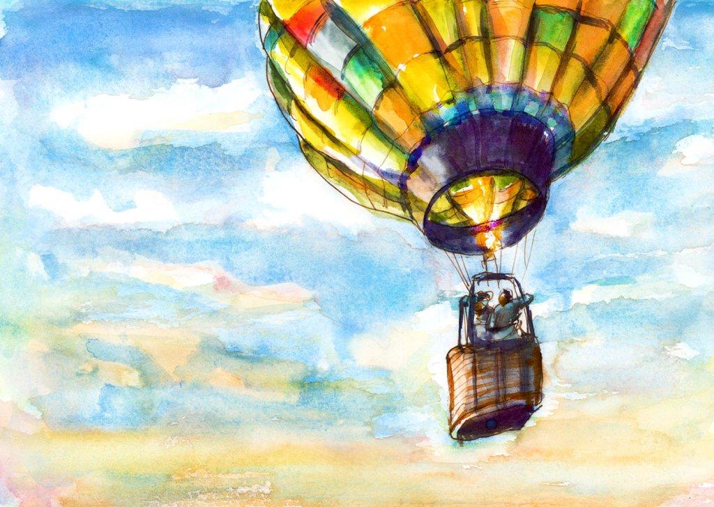 Day 5 - Hot Air Balloon Watercolor Riding In A Basket - #doodlewashJune2018 Doodlewash