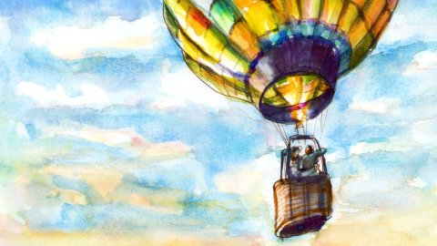 Day 5 - Hot Air Balloon Watercolor Riding In A Basket - #doodlewashJune2018 Doodlewash