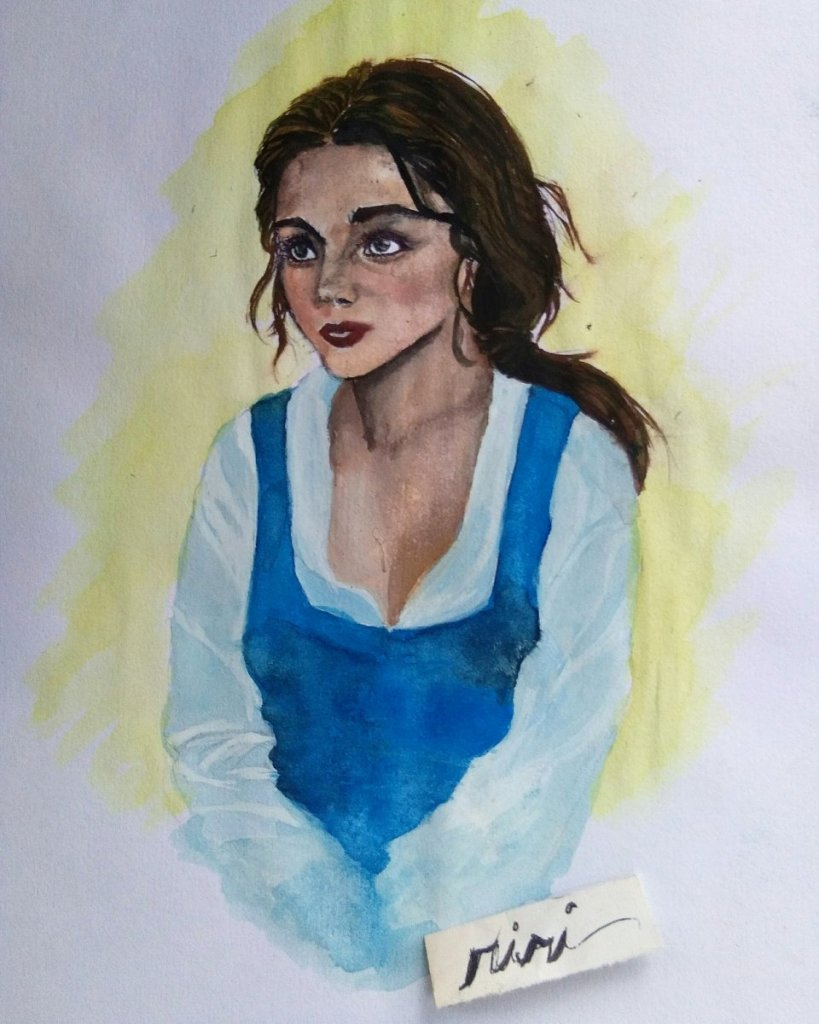 Belle of Disney's Beauty and the Beast human version. Hope you like it. #WorldWatercolorGroup
