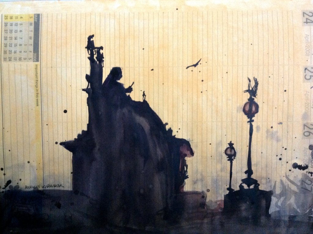 Evening light in kolkata, Watercolour on diary paper, A4 IMG_4119
