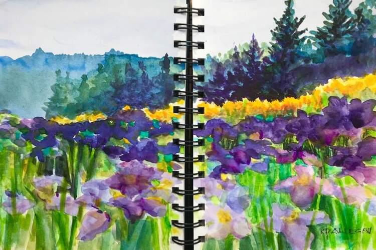 First Day of Summer, 21 June 2018. Japanese Iris Field, Plein Air, in my Stillman & Birn Beta Jo