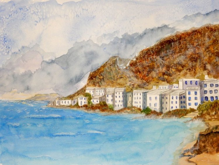 World Watercolor Group™MEDITERRANEAN COASTLINE started at a workshop last Tuesday. Not my usu