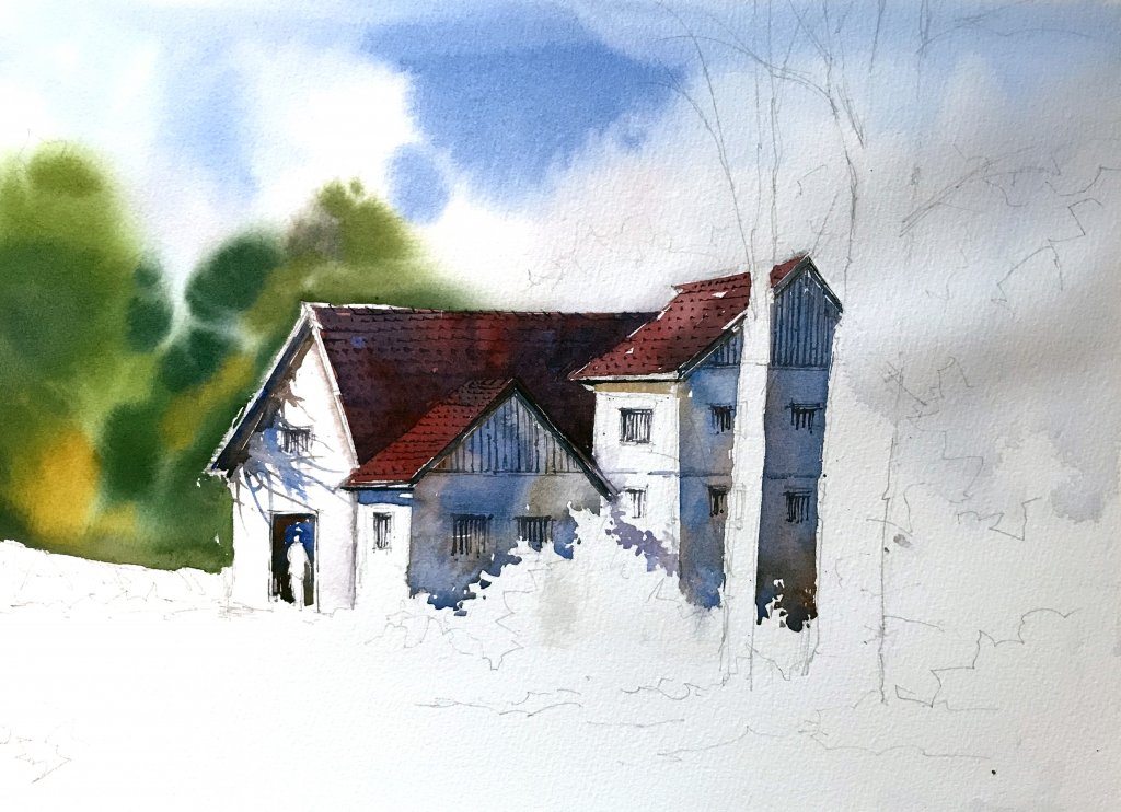 WATERCOLOR TUTORIAL Step 3: Painting A Countryside Mansion by Sujit Sudhi