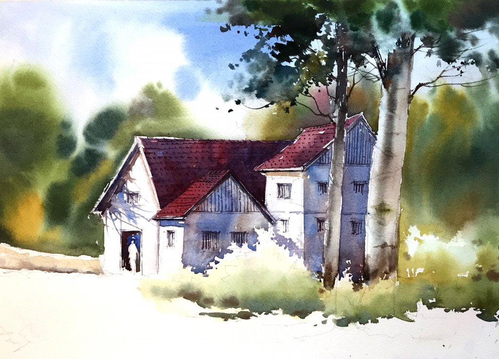 WATERCOLOR TUTORIAL Step 5: Painting A Countryside Mansion by Sujit Sudhi