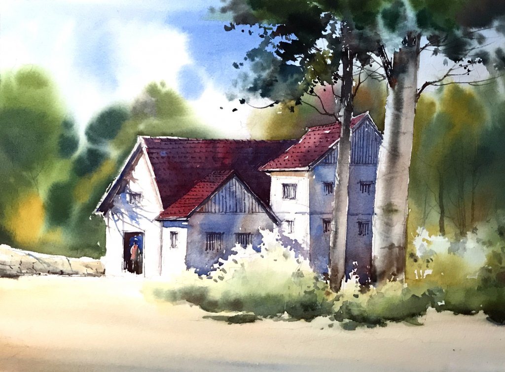 WATERCOLOR TUTORIAL Step 6: Painting A Countryside Mansion by Sujit Sudhi