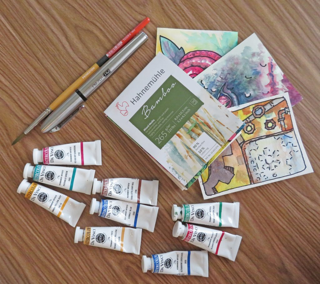 Da Vinci Trio 8 ml watercolors Hahnemühle Bamboo Princeton Snap
