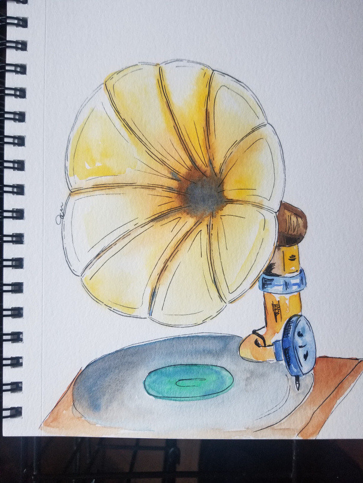 The Glorious Golds prompt had me stumped so I went with an antique gramophone. 20180723_180613