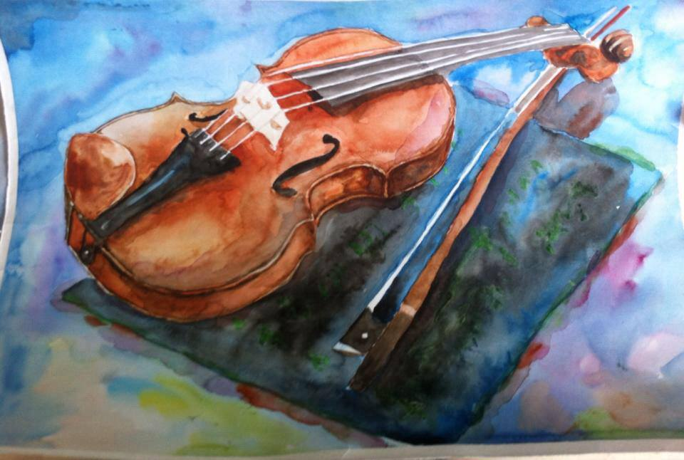 I wanted to draw a violin. I love violin. and I want to learn play this. by watercolour 23915501_161