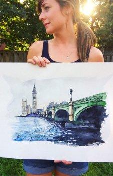 Big Ben and Westminster Bridge, London, England watercolor Esther Moorehead - Doodlewash