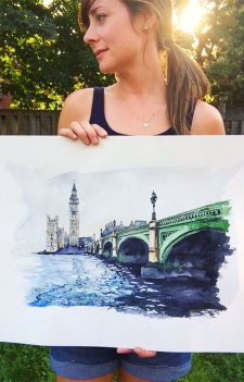 Big Ben and Westminster Bridge, London, England watercolor Esther Moorehead - Doodlewash