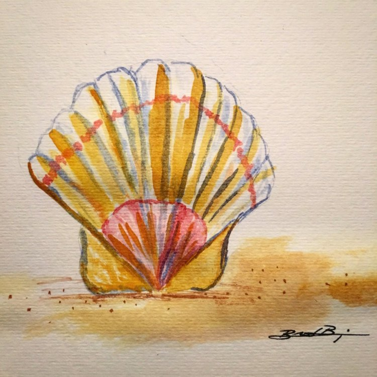 Day 15: On the Beach – I love seashells in the sand! #worldwatercolorgroup #worldwatercolormon