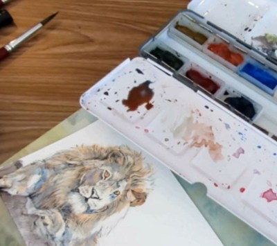 How To Paint A Lion In Watercolor - Darker Mixes - Doodlewash