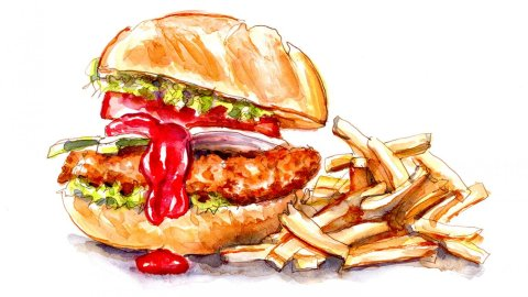 Day 13 - World Watercolor Month Fast And Loose Fast Food - Doodlewash