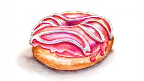 Day 14 - World Watercolor Month Sweet Treats Donut - Doodlewash