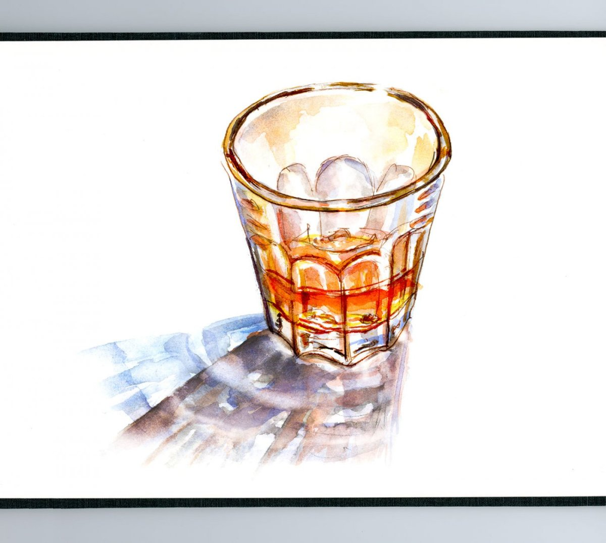 Day 16 - World Watercolor Month Casting Shoes Drink Whiskey - Doodlewash