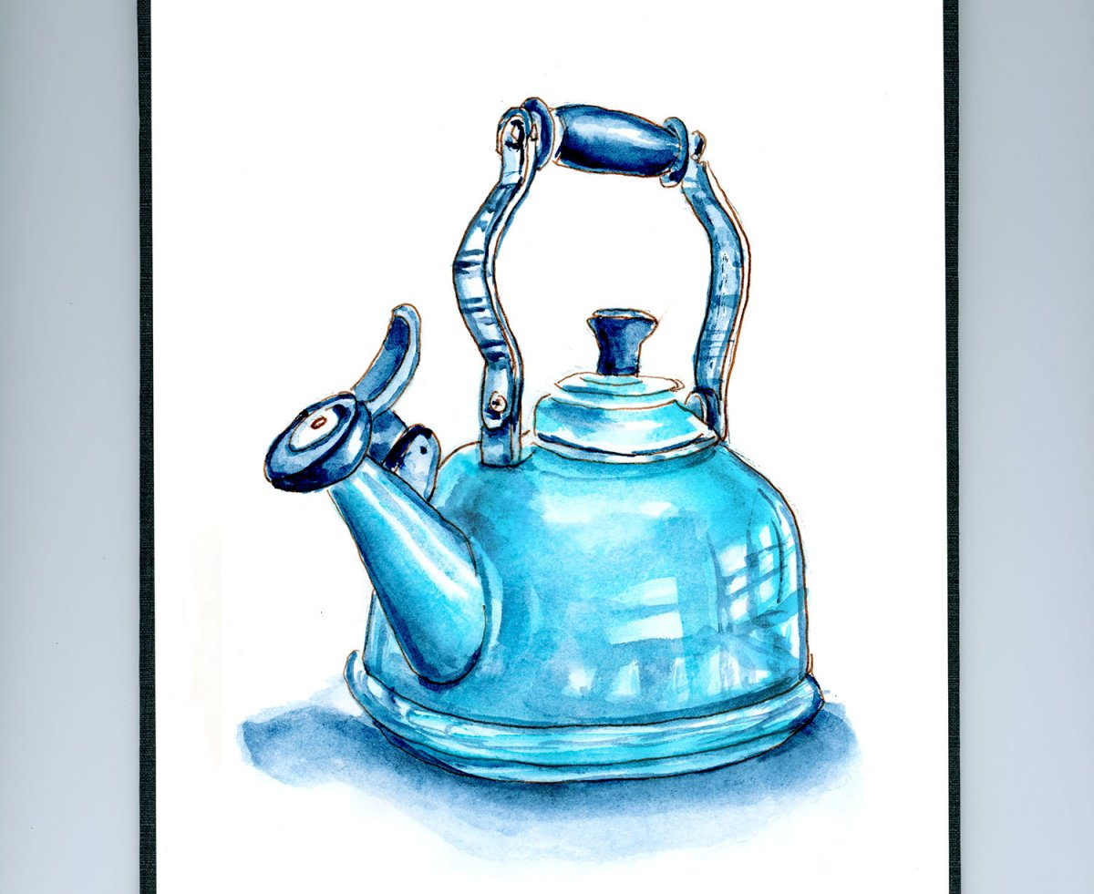Day 24 - World Watercolor Month Monochromatic Mood Teapot - Doodlewash