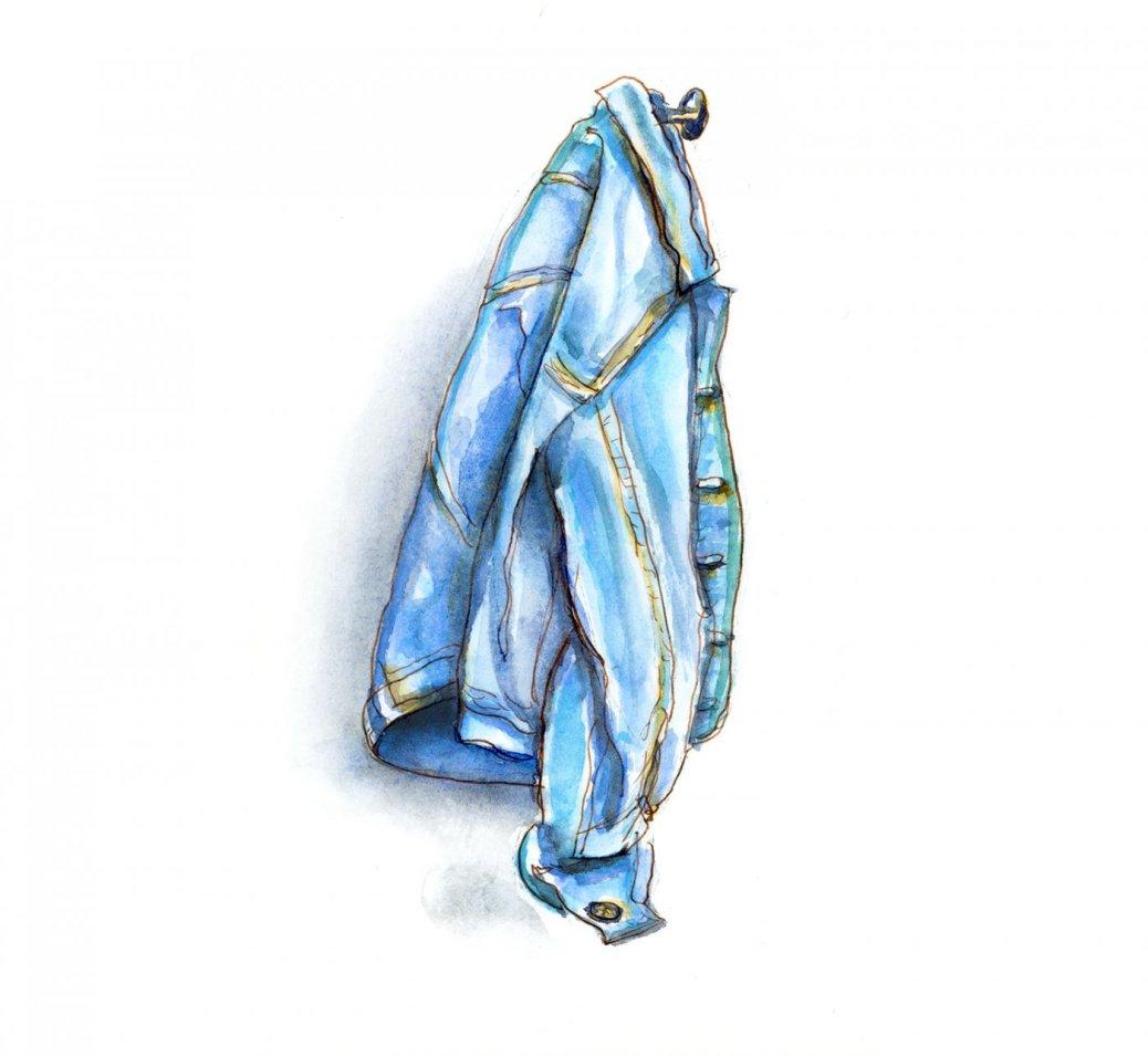 Day 5 - World Watercolor Month Shades of Blue Denim Jacket - Doodlewash