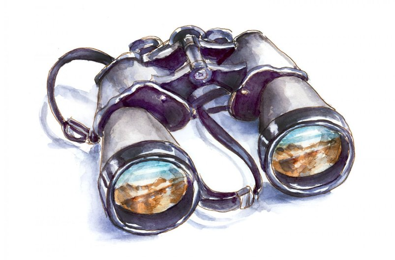Day 9 - World Watercolor Month Climbing Mountains Binoculars - Doodlewash