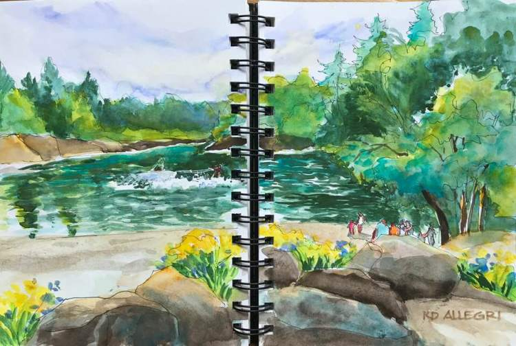 I used my Stillman & Birn Beta Series journal to paint this scene of the river I painted previou