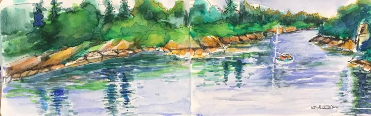 I sketched and painted in my little red cloth-covered journal at this river a couple of weeks ago. G