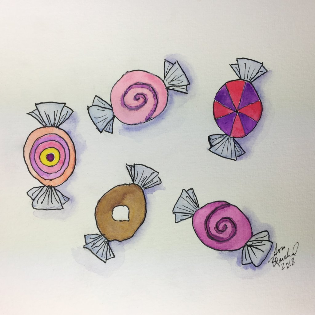 Day 14 of World Watercolor Month … Prompt – Sweet Treats … kept it simple today but they d