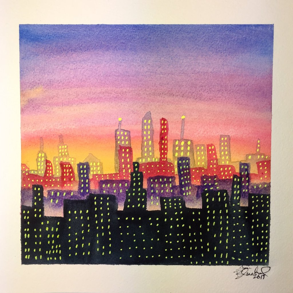 Day 17 of World Watercolor Month … Prompt – City Life … #worldwatercolormonth #worldwaterc