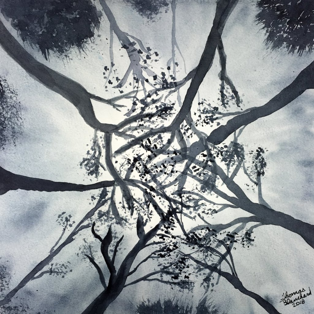 Day 24 of World Watercolor Month … Prompt – Monochromatic Mood. I went with looking up in a