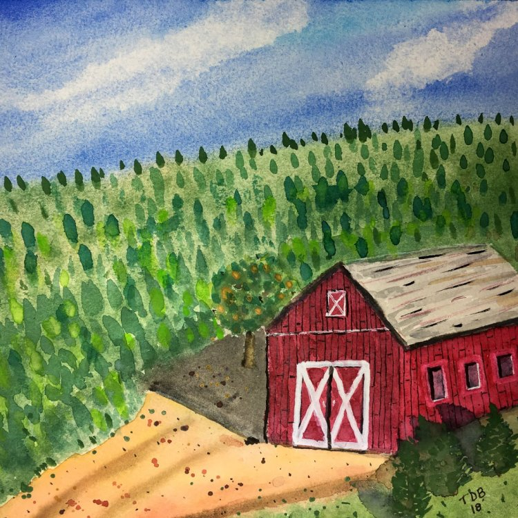 Day 25 of World Watercolor Month … Prompt – Farm Life. How about a Christmas Tree Farm &#x1f