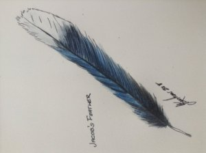 My son found this feather in our backyard hence, Jacob's Feather Jacob's Feather watercol