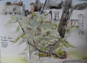 Day 10 View from Jardin Augustin Thierry, Blois, France, painted onsite. Fineliner, watercolour penc