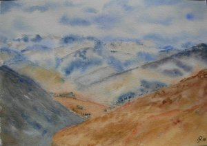 Day 9 Climbing mountains. The Southern Alps in October 2014. Watercolour. I should have stopped a li